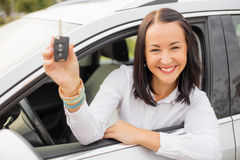 Woman holding her new car keys Royalty Free Stock Photo