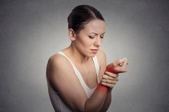 Woman holding her painful wrist Stock Images