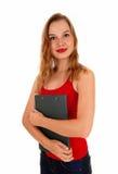 Woman holding her pat. Stock Photos
