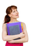 Woman holding her school notebooks Stock Image