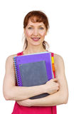 Woman holding her school notebooks Stock Images
