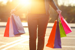 Woman holding her shopping bags in her hand Stock Photo