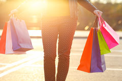 Woman Holding Her Shopping Bags In Her Hand Royalty Free Stock Images