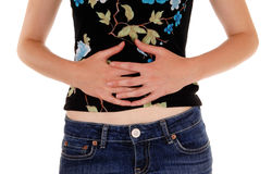Woman holding her stomach. Royalty Free Stock Image