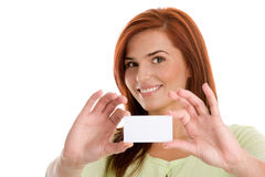 Woman holding her visiting card Royalty Free Stock Images