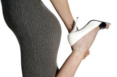 Woman Holding High Heel Stock Photos