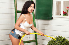 Woman holding a hose Royalty Free Stock Image