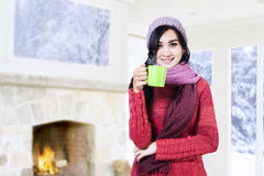 Woman Holding Hot Coffee Stock Images