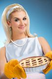 Woman holding hot italian pie Stock Image