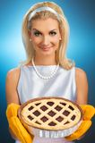 Woman Holding Hot Italian Pie Stock Photography