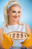 Woman holding hot italian pie Stock Photo