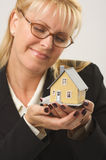 Woman Holding House Royalty Free Stock Image