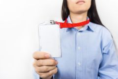 Woman holding Identification card. Stock Photography