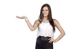 Woman holding an imaginary object Stock Photos