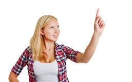 Woman holding index finger up Stock Image