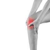 Woman holding injured knee. Stock Photos