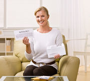 Woman holding innernotification Stock Photo