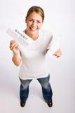 Woman holding innernotification Stock Image