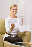 Woman holding innernotification Stock Photo