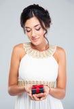 Woman holding jewelry gift box Stock Photo