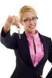 Woman holding keys Stock Photos