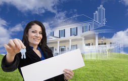 Woman Holding Keys, Blank Sign with Ghosted House Drawing Behind Royalty Free Stock Photos