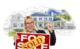Woman Holding Keys, Sold Sign Over House Photo and Drawing Stock Photo