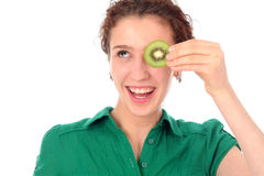 Woman holding kiwi Stock Images