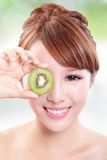 Woman holding kiwi fruit cover her eyes Royalty Free Stock Photos