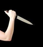 Woman Holding Knife Stock Photo