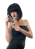 Woman holding a knife Royalty Free Stock Photo