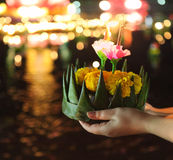Woman holding kratong in her hands Royalty Free Stock Photography