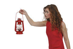 Woman holding lantern Royalty Free Stock Photography