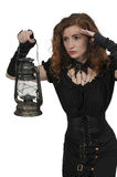 Woman holding lantern Royalty Free Stock Photo