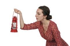 Woman holding lantern Royalty Free Stock Photo