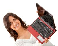 Woman holding a laptop Stock Image