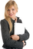 Woman holding laptop. Portrait of young businesswoman holding laptop computer isolated on white background Stock Photo
