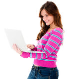 Woman holding a laptop Royalty Free Stock Images