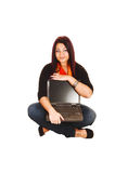Woman holding laptop. Royalty Free Stock Photography