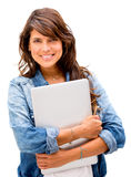 Woman holding a laptop Stock Photo