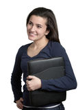 Woman Holding Laptop Computer. Young woman holding laptop computer isolated on white Royalty Free Stock Photos