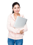 Woman holding with laptop computer Royalty Free Stock Image