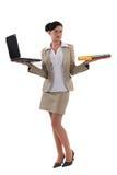Woman holding laptop Royalty Free Stock Photo