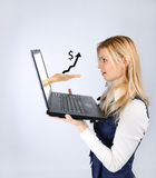 Woman holding a laptop and hand with schedule royalty free stock photos