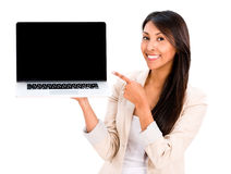 Woman holding a laptop Royalty Free Stock Photos