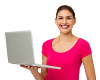 Woman Holding Laptop Over White Background Royalty Free Stock Images