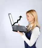 Woman holding a laptop with a positive schedule royalty free stock photos
