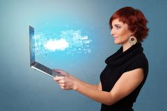 Woman holding laptop with cloud based system notifications. Woman holding laptop projecting notifications, symbols and information based on cloud technology vector illustration