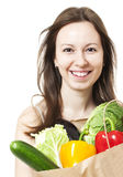 Woman Holding Large Bag of Healthly Groceries - Stock Image Stock Photo