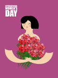 Woman holding large bouquet of red roses. Cheerful girl and lots. Of beautiful flowers. Poster for international womens day 8 march Stock Illustration